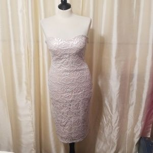 BeBe Silver and Nude lace midi dress size Medium